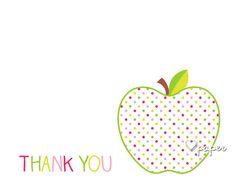 Rainbow Apple   Printed Thank You Cards Folded Flat Card Notecard Stationery   Birthday Baby Shower Bridal Wedding   Gift Stationery
