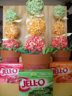 Jello Topiary Popcorn Trees