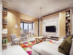A Comfortable Modern Home with Colorful Accents