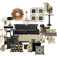Black and Gold Home Decor . 24 Unique Black and Gold Home Decor . Black and Gold Home Decor Places In the Home New Living Room, My New Room, Black And Gold Living Room, Black Sofa Living Room Decor, Black And Gold Curtains, Home Design, Interior Design, Interior Decorating, Design Ideas
