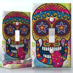 DIY Do It Yourself Home Decor - Easy to apply wall plate wraps | Sugar Skull Hippie  Tongue out sugar skull  wallplate skin sticker for 1 Gang Toggle LightSwitch | On SALE now only $3.95