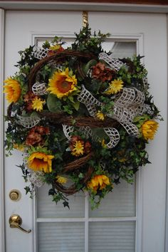 Deco mesh Western Sunflower delight  wreath by HangingTouches, $90.00