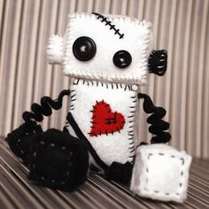 Gothic Robot Plush Voodoo Doll in Black and White by GinnyPenny