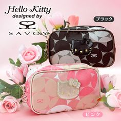 Hello Kitty x SAVOY Collaboration Cosmetic Bag Pouch Jacquard Black & Pink SANRIO JAPAN
