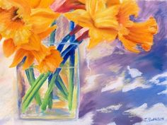 Spring Daffodils original pastel painting 9 x 12 inches colorful floral one of a kind painting. $125.00, via Etsy.