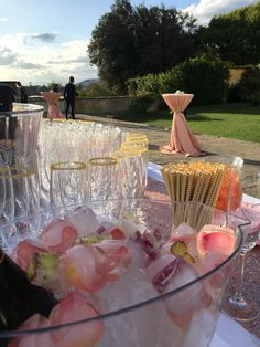 Personalize your event from the color of your Cocktails to the Wedding Cake Decor . The Open Bar of the Welcome Cocktail will be tailor to your taste and ideas to celebrate your Destination Wedding in Tuscany .  Ice cubes with petals for the special occasion of your Wedding