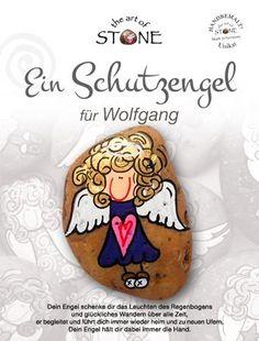 Ein Schutzengel für Wolfgang (oder Wunschname angeben) Handbemalter Natur Stein