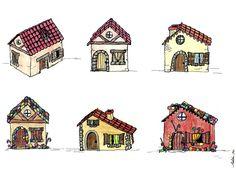 Casitas para un cuento (©Belén Garcia) Playing Cards, Short Stories, Sketches, Little Cottages, Illustrations, Playing Card Games, Game Cards, Playing Card