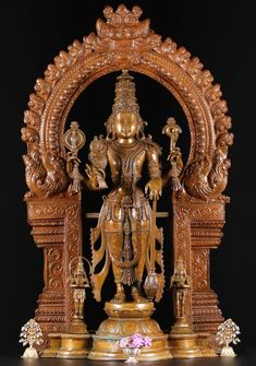 View the Masterpiece Bronze Vishnu with Beautiful Arch at Hindu Gods Lord Vishnu, Lord Shiva, African Forest Elephant, Hindu Statues, Pooja Room Door Design, Pooja Rooms, Hindu Deities, Old Doors, The Masterpiece