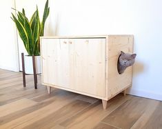 Cat Litter Box Cover, Pet Furniture, Cat House, Modern Litter Box Cabinet made of spruce wood with double door opening and side entrance Hiding Cat Litter Box, Diy Litter Box, Hidden Litter Boxes, Litter Box Covers, Litter Box Enclosure, Cat Litter Cabinet, Pet Ramp, Wood Cat, The Doors