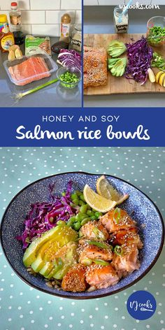 Grilled honey soy salmon served on top of rice with fresh avocado, edamame beans, red cabbage and spring onions. A healthy & quick dinner. Salmon Poke, Salmon And Rice, Salmon Recipes, Seafood Recipes, Roasted Sesame Dressing, Asian Beef, Grilled Salmon, Rice Bowls, Food Dishes