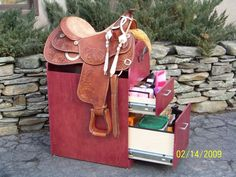 Saddle Rack and Tack Storage Unit. You could do this with an old file cabinet or shelf! | By etsy.com/shop/Outbackwoodworks