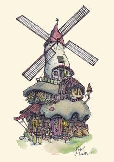 ArtStation - Little homes - Series, Fergal O' Connor Building Exterior, Environment Concept Art, Environmental Design, Little Houses, Watercolor Illustration, Windmill, Art Music, Digital Art, Architecture