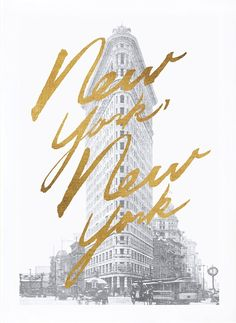 "The Kate And Laurel Gilded ""New York, New York"" Canvas Wall Art will bring a unique, classic accent to your room's decor. The canvas depicts a black and white print of the Flatiron Building with a gold foiled script ""New York, New York"" over the image. Guide New York, New York City, New York Canvas, A New York Minute, Poster Art, Empire State Of Mind, Vintage Poster, I Love Ny, City That Never Sleeps"