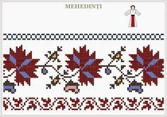 Semne Cusute: traditional Romanian motifs - OLTENIA, Mehedinti Folk Embroidery, Embroidery Patterns Free, Beading Patterns, Knitting Patterns, Cross Stitch Borders, Cross Stitch Designs, Cross Stitch Patterns, Yarn Crafts, Diy And Crafts