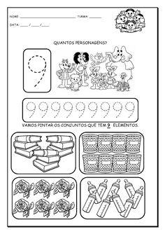 Alfabetizando com Mônica e Turma: Números de 1 a 9 Homeschool Kindergarten, Preschool Math, Classroom Activities, Maths, Form 4, Simple Math, Writing Numbers, Toddler Learning, Pre School