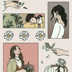 Ideas Flowers Drawing Wallpaper Art Illustrations For 2019 Aesthetic Drawing, Aesthetic Anime, Aesthetic Art, Korean Illustration, Illustration Girl, Art Illustrations, Pretty Art, Cute Art, Cartoon Art Styles