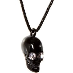 Wildfox Black Skull Pendant Necklace with Swarovski ($28) ❤ liked on Polyvore featuring jewelry, necklaces, accessories, engraved pendants, skull pendant necklace, wildfox, skull pendant and engraving necklaces