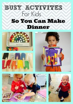 The hour before dinner when the kids have saved up all of their fighting, whining, crying, and let it all go at once! We have some great busy activities for kids so you can cook dinner in peace! Cooking Games For Kids, Craft Activities For Kids, Summer Activities, Toddler Activities, Crafts For Kids, Super Healthy Kids, Diy Crafts To Do, Kids Board, Kids Corner