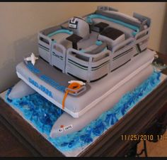 Pontoon Birthday Cake on Cake Central Cookie Cake Birthday, Birthday Cakes, Pontoon Accessories, Lake Cake, Barge Boat, Boat Cake, Party Barge, 70th Birthday Parties, Birthday Ideas
