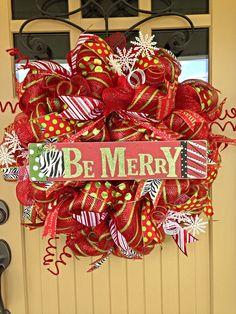 Christmas Deco Mesh Wreath Christmas Wreath Xmas by BlondeMoxie