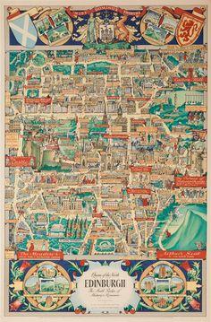 DP Vintage Posters - Edinburgh Scotland Map Original Vintage Scottish Travel Poster