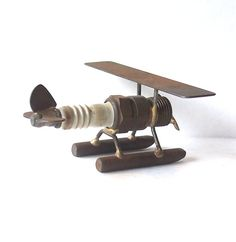 Metal Art Spark Plug Float Plane signed by MargsMostlyVintage