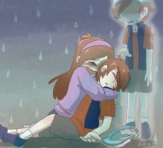 """Dipper no please no"" yelled Mabel ""Mabel I'm right here Mab..."" Dipper looked at the body that Mable was holding ""is that me am I ...... dead"" Mabel was sobbing and holding Dippers body close to hers "" hold on Dipper please hold on"" Dipper started to cry he knew that no one would be able to save him not even his sister so he kissed her on the head and said "" goodbye Mable"" Mable felt the kiss and knew her brother was gone for good"