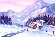 Swiss Mountains Watercolor Painting by Sabina von Arx. Mountain cabins in snow: Barns in the wonderful winter landscape in the Sertig Valley, Switzerland close to Village of Davos.