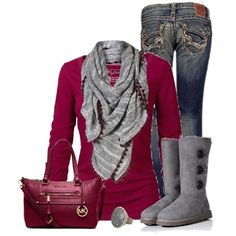 Cute Outfit #sugar Plumb #date outfit Plum and Grey by cindycook10 on Polyvore uggcheapshop.jp.pn   cheap ugg boots for Christmas  gifts. lowest price.  must have!!!