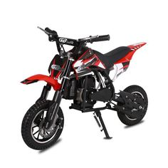 The MotoTec GB Gas-Powered Dirt Bike is a great beginner bike for young riders to zip off-road and through uneven terrain. Its reliable, gas-powered engine keeps your young rider going for at least miles between refueling. Electric Bike For Kids, Best Electric Bikes, Electric Dirt Bike, Dirt Bikes For Kids, Cool Dirt Bikes, Free Dirt Bikes, Kids Atv, Strollers, Sportbikes