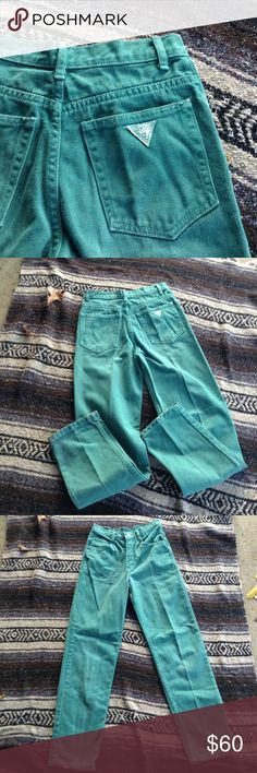 "Rare Color Vintage High-Waisted Guess Jeans Rock the high-waisted jeans look in this pair of vintage Guess. They are a dark sea foam green, with classic Guess logo on the back pocket. Straight leg, American made. Style No. K0060101. Cut No. 8140. ☕️flat measurements☕️ waist: 13"" // rise: 10.5"" // hip: 17"" // inseam: 27"" // length: 37"" // Guess Jeans Straight Leg"