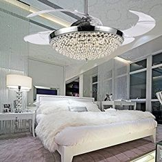 COLORLED Ceiling Flush Mounted Light Kit Crystal Silver Drawing Retractable 42-Inch Ceiling Fan for Living Room Bedroom Restaurant Three Color Changing Fan Chandelier Lighting