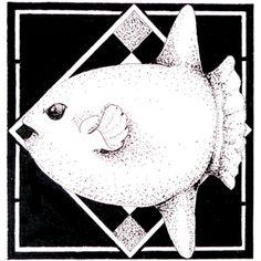 Day 34 1/12/16 Original Aquatic pointillism Sunfish art.