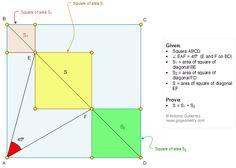 Geometry Problem 1338: Four Squares, Diagonals, Angle, 45 Degrees, Areas, Tutoring