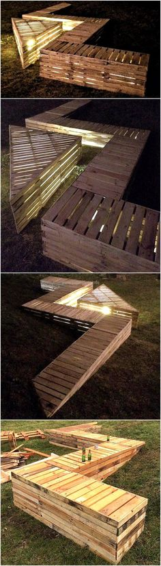 Another regular furniture of our necessity is presented below for your review. This recycled wood pallet garden lounge offers a great design and pattern with its zig-zag pattern benches accommodating a triangle shaped table. This is giving your garden a modern look. The rough surface of the furniture provides you with great peace of mind from environmental damages.