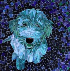 Blue Green Happiness Stained Glass Mosaic Pet by PiecefulArts, $400.00