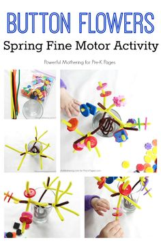 Spring Fine Motor Activity. Make a tree or flower with chenille stems and buttons. Perfect for developing fine motor skills with Preschool or Kindergarten kids!  Pre-K Pages