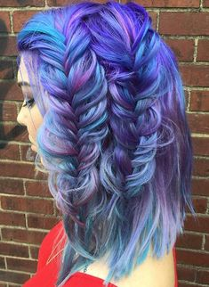Blue purple fishtail braided dyed hair style inspiration @heatherchapmanhair