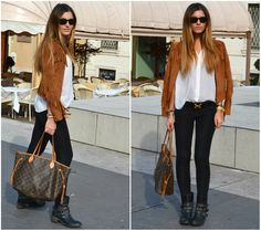 "Louis Vuitton Neverfull, Zara Suede Jacket //""SPARK UP THE BASICS"" by Lorna Juka // LOOKBOOK.nu"