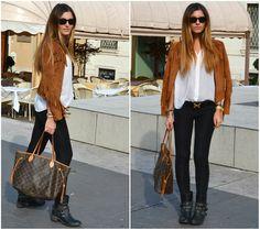 "Louis Vuitton Neverfull, Zara Suede Jacket //""SPARK UP THE BASICS"" by Lorna Juka // LOOKBOOK.nu"