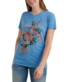 $39.5. LUCKY BRAND Top Crew-Neck Floral-Graphic T-Shirt #luckybrand #top #t-shirt #clothing Floral Print Shirt, Paisley Print, Branded T Shirts, Printed Shirts, Lucky Brand Tops, Cool Style, Crew Neck, Clothes For Women, Nerd