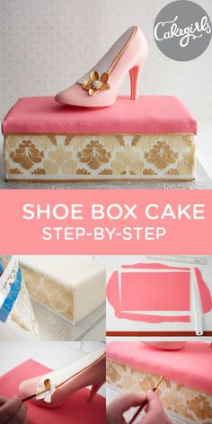 Perfect for the Princess in your life! Shoe Box Cake Step-by-Step Tutorial Shoe Box Cake, Shoe Cakes, Purse Cakes, Car Cakes, Cake Decorating Techniques, Cake Decorating Tutorials, Pretty Cakes, Beautiful Cakes, Amazing Cakes