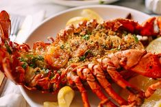 Baked Stuffed Lobster with Shrimp makes a big statement for a special celebration. This lobster with herbs, buttery bread crumbs & shrimp won't disappoint. Lobster Recipes, Seafood Recipes, Chicken Recipes, Baked Stuffed Lobster, Wok Of Life, Romantic Meals, Clarified Butter, Shrimp, Fresh
