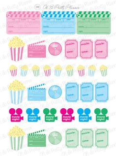 This adorable movie night sticker set is the perfect complement for your Erin Condren Life Planner or other planner. All stickers are original