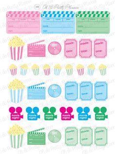 Movie Night Sticker Set for your Planner