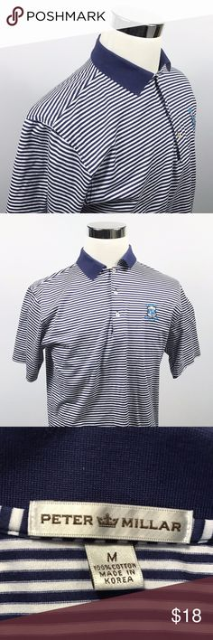 Peter Millar Mens Medium Luxury Golf Polo Blue Peter Millar Mens Medium Luxury Golf Polo Blue White Striped 100% Cotton Shirt  Measurements (inches): Pit to Pit (across the chest): 22 Sleeve (shoulder to cuff): 9 Length (top of collar to hem): 30  Condition:  This item is in good pre-owned condition! Free from rips & stains.  All items come from a smoke/ pet free environment. Peter Millar Shirts Polos