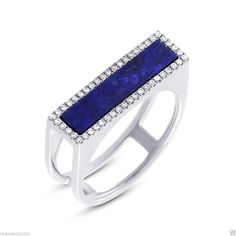 #14KWhiteGold #LapisLazuli and #Diamond Cocktail 2 Band Ring