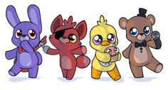 the plush gang would anyone want them on there own as a sticker or shirt? Animatronic Fnaf, Fnaf Baby, Fnaf Wallpapers, Fnaf Sl, Fnaf Characters, Fnaf Sister Location, Fnaf Drawings, Kawaii Doodles, Anime Fnaf