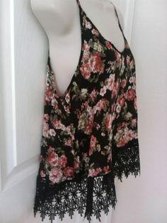 Black floral crochet lace detail fringe cami tank top flapper hippie vintage sty #iris #TankCami